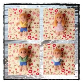 家族の羊毛フェルト天使人形